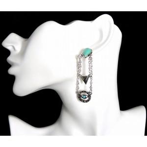 Boucles d'oreille de style ethnique en métal argenté façon vieilli et pierres turquoises