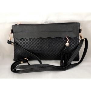 Petit sac à main en cuir synthétique noir , bandoulière et dragonne