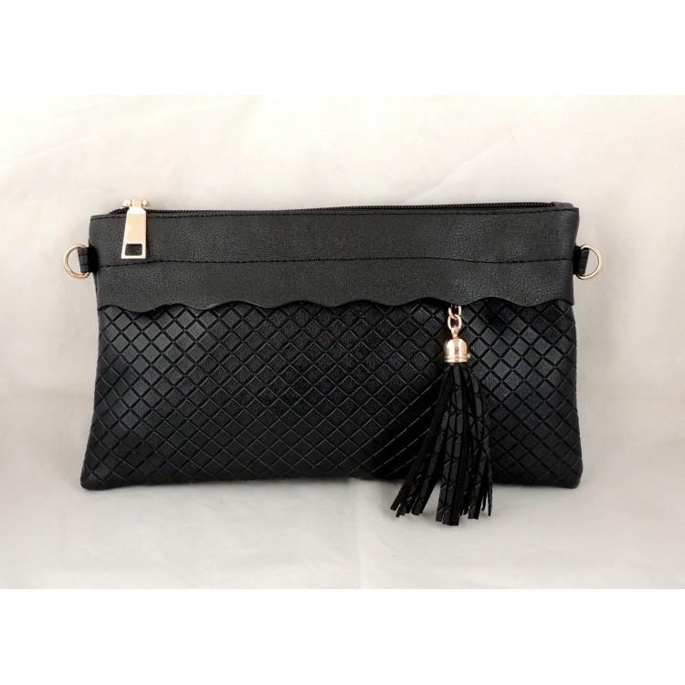 Populaire Petit sac à main noir avec bandoulière et dragonne HZ11