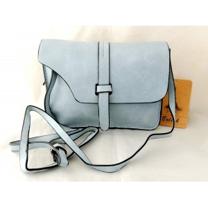 Petit sac chic en cuir gris clair bleuté et bandoulière réglable