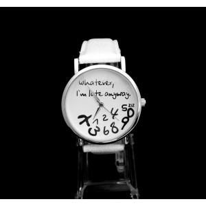 Montre avec cadran blanc et inscription 'je suis en retard' avec bracelet en cuir blanc