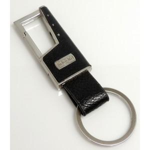 Porte-clés cuir et acier couleur argent pour homme