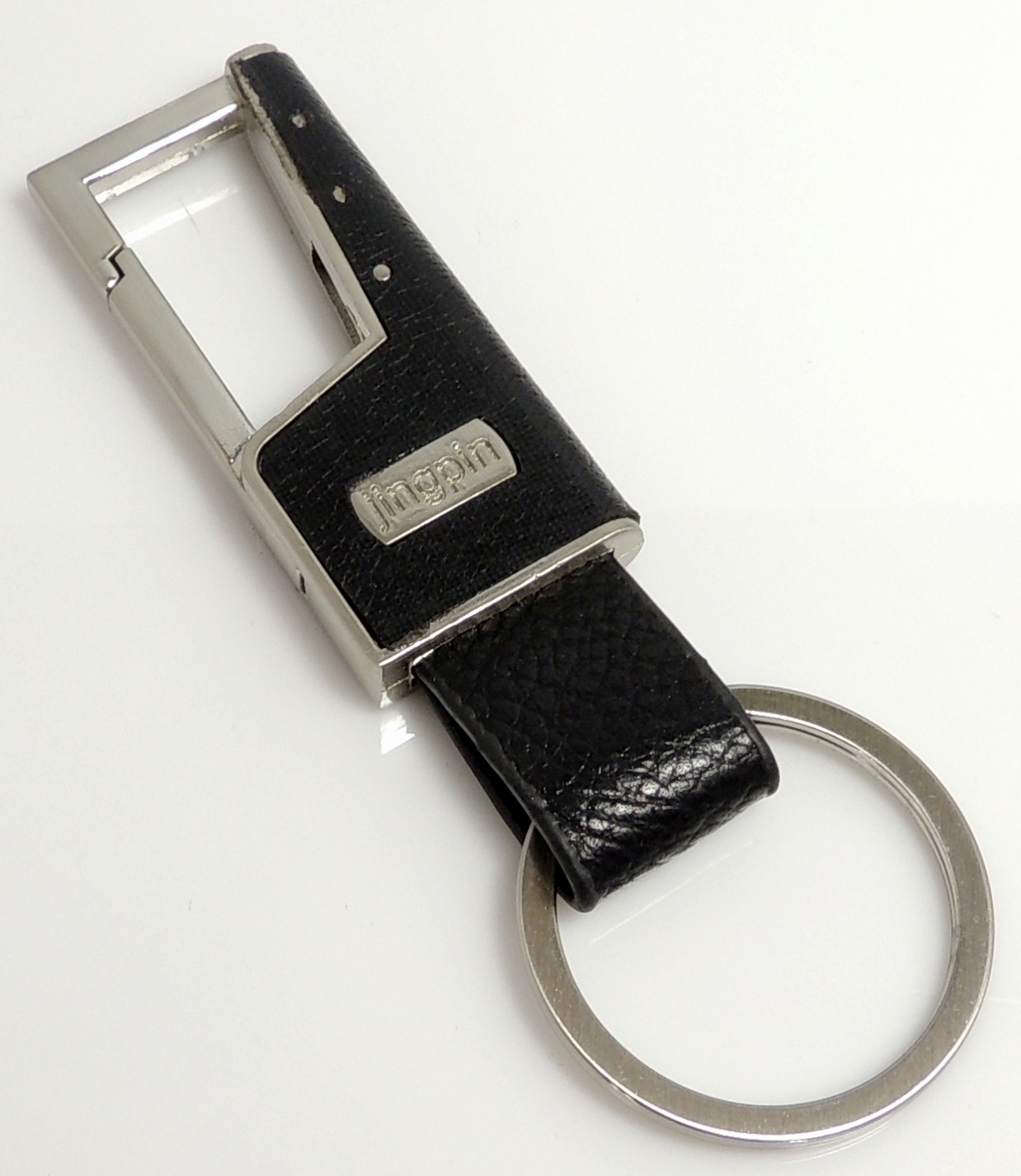 Porteclés Cuir Et Acier Argent Pour Homme - Porte clé cuir
