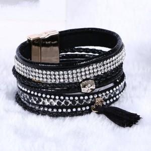 Bracelet brésilien fait main, 7 rangs en cuir noir ornés de strass et pompon