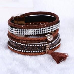 Bracelet brésilien fait main, 7 rangs en cuir marron ornés de strass et pompon