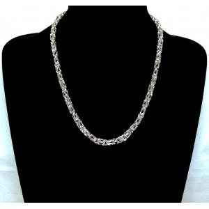 Parure en argent 925 , collier et bracelet avec maillons entrelacés travaillés