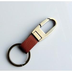 Porte-clés homme en acier brossé couleur bronze et cuir grainé marron