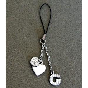 Bijou de sac en métal argenté personnalisé avec l'initiale G et des petits cœurs