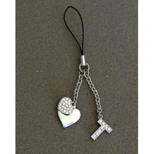 Bijou de sac en métal argenté personnalisé avec l'initiale T et des petits cœurs