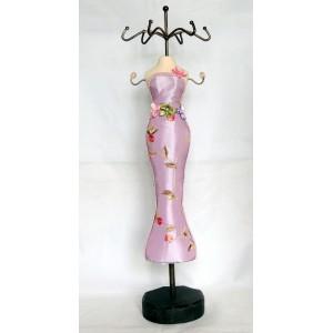 Porte-bijoux sur 2 niveaux, mannequin habillé de tissu satiné brodé rose parme