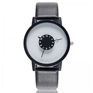 Montre design avec un cadran blanc et bracelet noir en cuir véritable