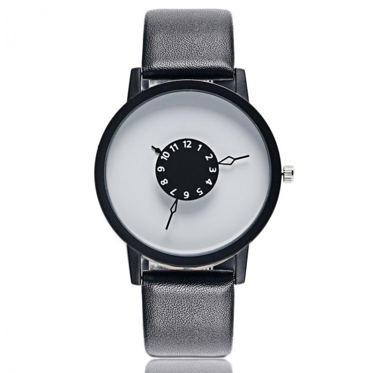 montre femme design ronde avec cadran blanc et bracelet en cuir noir v ritable. Black Bedroom Furniture Sets. Home Design Ideas