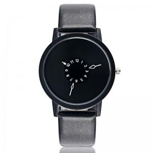 Montre design avec un cadran rond noir et bracelet noir en cuir véritable