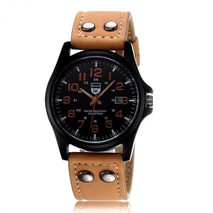 6091b9d59bd32 Montre homme avec bracelet en cuir marron clair, chiffres et aiguilles de  même couleur