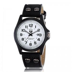Montre homme avec bracelet en cuir noir, cadran blanc