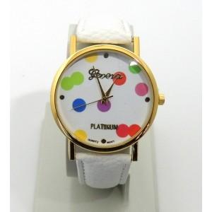 Montre avec cadran orné de confettis de couleurs différentes, bracelet blanc