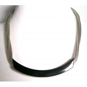 Collier métal chaînes multirangs tube noir, ras de cou femme