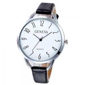 Montre avec un cadran rond et chiffres originaux, bracelet en cuir véritable noir