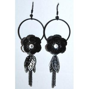 Boucles métal argenté, créoles avec chaînes pendantes
