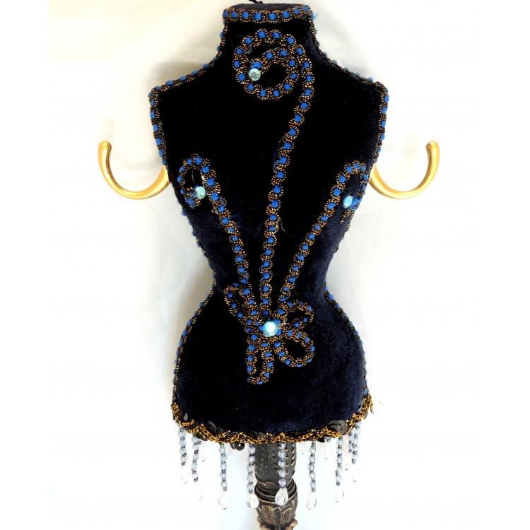 Porte bijoux grand buste en velours bleu marine - Porte bijoux buste ...