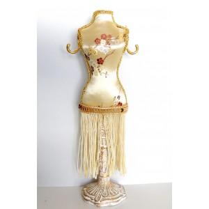 Porte-bijoux, petit mannequin habillé en tissu satiné doré