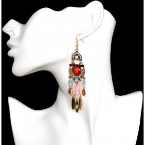 Boucles d'oreilles de style ethnique avec des perles de toutes couleurs