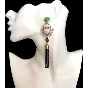 Boucles d'oreilles longues de style ethnique avec pierre turquoise