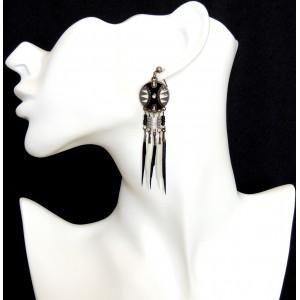 Boucles d'oreilles de style indien, plumes 2 couleurs avec laque grise et noire
