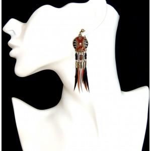 Boucles d'oreilles de style indien, plumes 2 couleurs avec laque rouille ,noire et grise