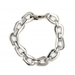 Bracelet souple en acier brillant avec des maillons larges