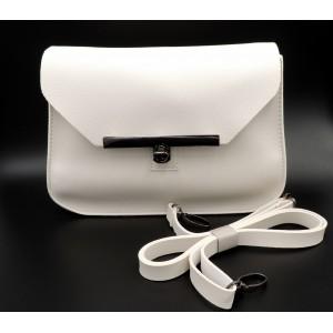 Petit sac à main en cuir blanc cassé avec bandoulière