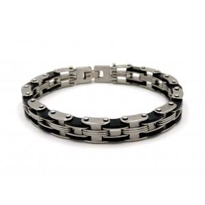 Bracelet en acier 316 L , maillons ornés de silicone noir