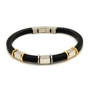 Bracelet homme en silicone noir et acier 2 tons inoxydable