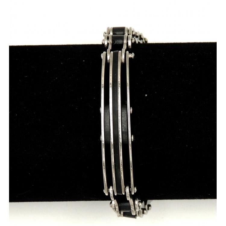 ... Bracelet en acier inoxydable et silicone noir, chaîne de vélo pour homme 5c058d0ff92e
