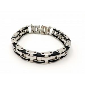 Bracelet en acier inoxydable avec1 maillon sur 2 orné de silicone noir