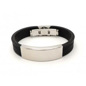 Bracelet acier et silicone noir homme