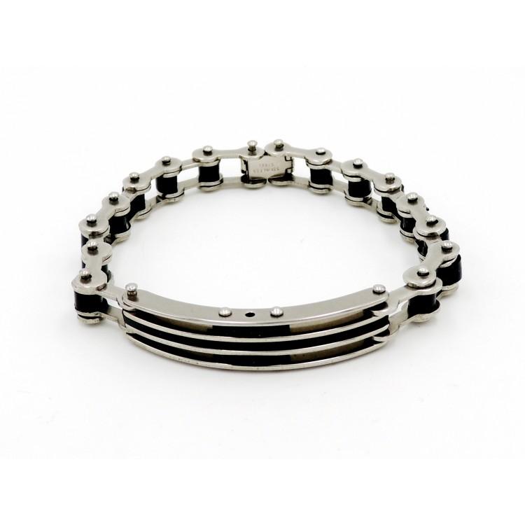 Bracelet en acier inoxydable et silicone noir, chaîne de vélo pour homme ... 5dc7ec42961e