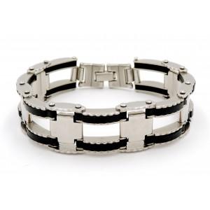 Bracelet en acier 316 L et silicone noir, maillons crantés