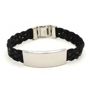 Bracelet gourmette en acier et tour de poignet en soie tressée