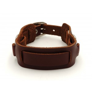 Bracelet en cuir véritable marron orné de 2 anneaux en métal