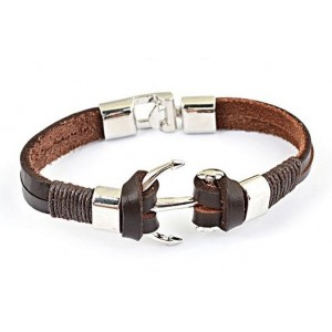 braceletcuir marron et ancre acier bracelets homme. Black Bedroom Furniture Sets. Home Design Ideas