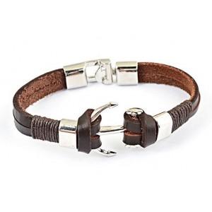 Bracelet cuir marron et ancre acier homme