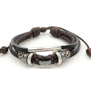 Bracelet en cuir véritable noir, tresses marron, métal 2 tons