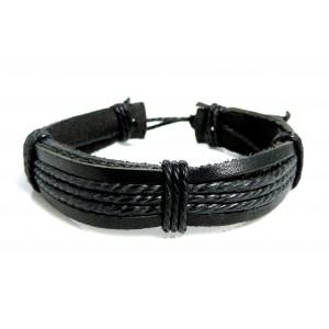 Bracelet unisexe en cuir véritable noir et cordelettes en bordure