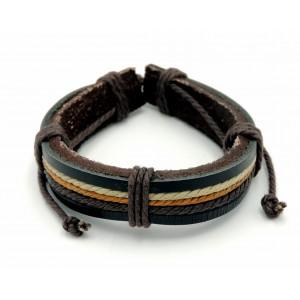 Bracelet unisexe en cuir véritable marron orné de bandelettes de cuir etcordelettes de couleurs