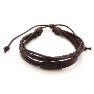 Bracelet unisexe en cuir véritable marron sur 2 rangs et 2 cordelettes