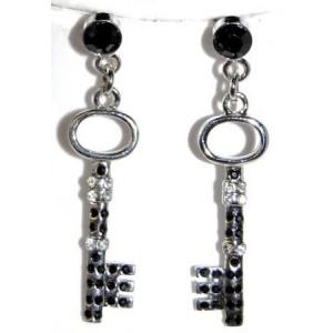 Boucles métal argenté en forme de clés, strass noir