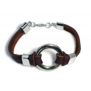 Bracelet unisexe en cuir véritable marron avec un anneau en métal argenté