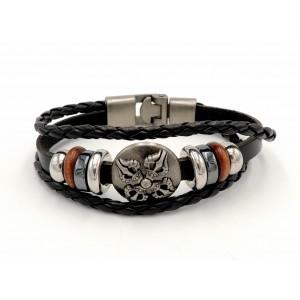 Bracelet unisexe en cuir noir véritableet acier orné de pièces de métal et bois