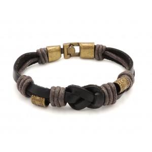 Bracelet unisexe en cuir noir véritable orné de pièces de métal couleur bronze
